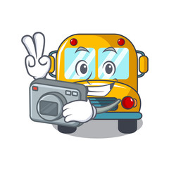 Photographer school bus mascot cartoon