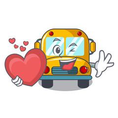 With heart school bus mascot cartoon