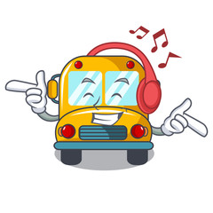 Listening music school bus mascot cartoon