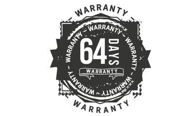 64 days warranty icon vintage rubber stamp guarantee
