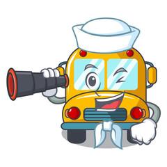 Sailor with binocular school bus mascot cartoon