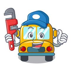 Plumber school bus mascot cartoon