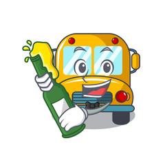 With beer school bus mascot cartoon