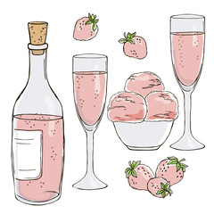 vector contour color rose  champagne wine bottle glasses with bubbles outlined strawberry berry ice cream bowl romantic date