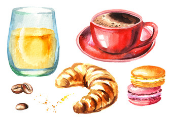 Traditional french morning breakfast set. Croissant, orange juice, cup of coffee, coffee beans. Watercolor hand drawn illustration  isolated on white background