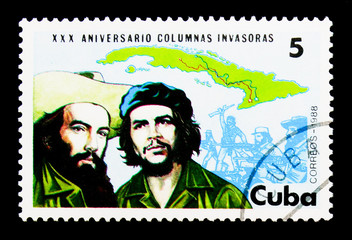 Map of Cuba, Fidel and Cienfuegos, Revolutionary Invasion Forces