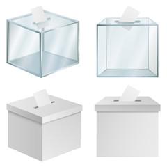 Ballot voting box democracy mockup set. Realistic illustration of 4 ballot voting box democracy mockups for web