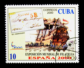 Ship, World Stamp Exhibition Spain - 2000 serie, circa 2000