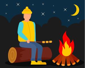Boy at camp fire background. Flat illustration of boy at camp fire vector background for web design