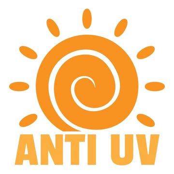 Anti uv sun logo. Flat illustration of anti uv sun vector logo for web design