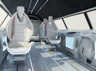 Futuristic interior design of the passenger zone of a supersonic business class aircraft.