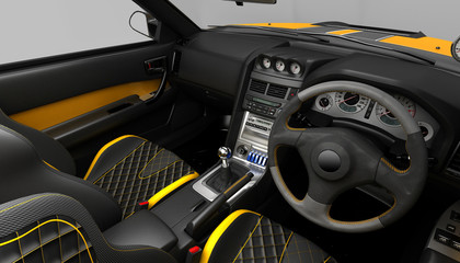 Exclusive tuning project for the interior of a sports car. Interior design with the layout of the main elements of the machine.