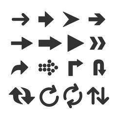 Vector image of set of arrows icons.