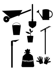 garden tools and equipment. Clipart for design