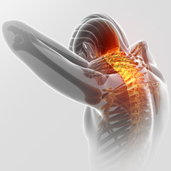 3d Illustration of men Feeling the Neck Pain