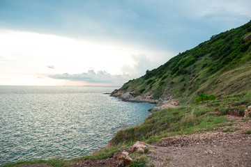 scenery view beautiful coastline with sea and blue sky background