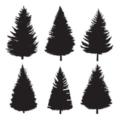 Set of trees, silhouettes. Conifer. Vector illustration isolated on white background