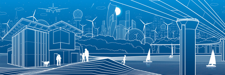 Futuristic City. Urban life. Town infrastructure. Industrial illustration. Large  bridge. People on river bank. Modern houses. Airplane fly. White lines, blue background. Vector design art