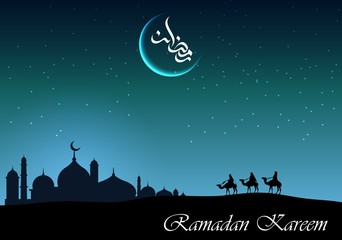Ramadan kareem arabian night background with group of people riding camel and mosque silhouette