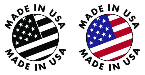 Made in USA sign. Red stripes, white stripes and stars on blue field, clipped to circle with text around. Black & white / color version.