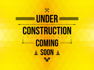 Under construction sign, yellow geometric background, vector illustration