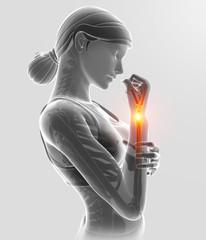 3d Illustration of Femen Feeling Elbow pain