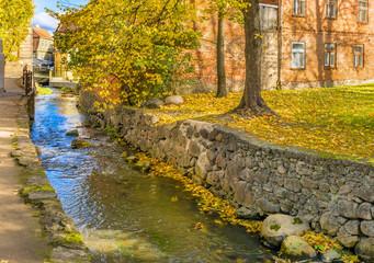 Rapid brook in old city of Kuldiga, region of Kurzeme,  Latvia, Europe