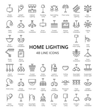 Different kinds of wall, ceiling, table and floor lamps. Modern light fixtures. Home lighting. Line icon collection. Isolated objects.