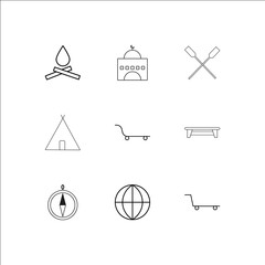 Travel And Tourism outline vector icons set