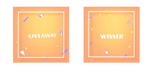Giveaway and Winner card set for socail media. Vector illustration.