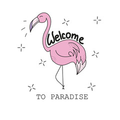 Pink cute flamingo - Textile graphic t shirt print. Vector illustration on white background