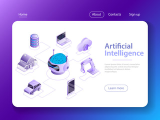 Flat isometric vector concept of artificial intelligence, big data, cyber mind, machine learning, digital brain, cyberbrain.