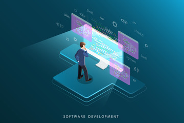Flat isometric vector concept of software development, programming, coding.