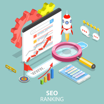 Flat isometric vector concept of Search engine ranking, web analytics, SEO, website optimization marketing.