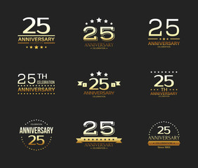 25th anniversary celebration logo set. 25 year jubilee banner.