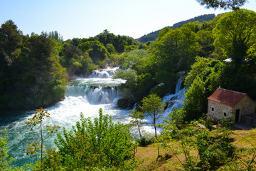 Panorama view of the waterfalls at Krka National Park in Croatia, Europe