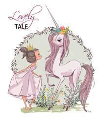 Cute unicorn with girl