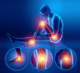 3d Illustration of male feeling Leg pain