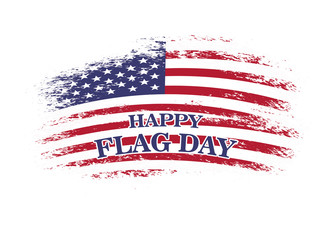 Happy flag day. Vector illustration with american flag.