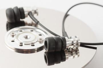 Metal earphones on a disk