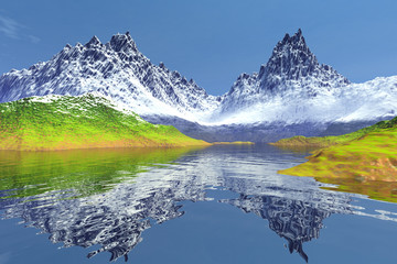 Mountain, an alpine landscape, snow on the peaks, grass on the ground, reflection in water and a blue sky.