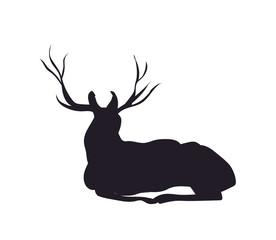 deer lies, silhouette, vector