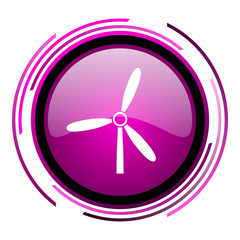 Windmill pink glossy web icon isolated on white background
