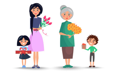 Mother and Grandmother with Flowers and Children