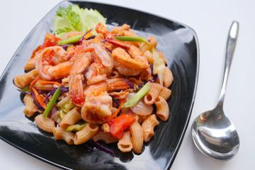 homemade Stir fried macaroni with prawn