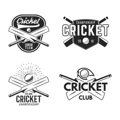 Cricket logo set, sports template emblems elements - ball, bat. Use as icons, badges, label designs or print. Cricket logo graphics. Stock illustration sport championship isolated on white