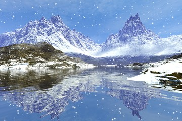 Snowfall, a winter landscape, wonderful mountains, snow on the ground, reflection in water and a cloudy sky.