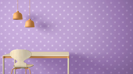 Minimalist architect designer concept, table desk and chair, kitchen or office with lamps on starry wallpaper background, violet and orange pastel interior design idea with copy space