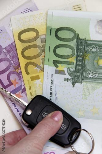 New Luxury Car Keys On Euro Banknotes Background Isolated On White