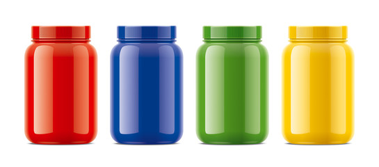 Blank glossy bottles for protein. Colored version.